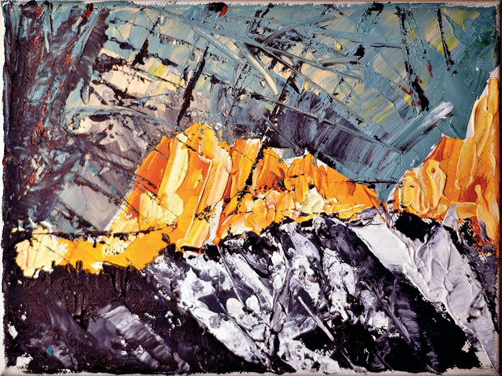 DOLOMITI ALBA SAN MARTINO - acrilico su tela 18x24 2014