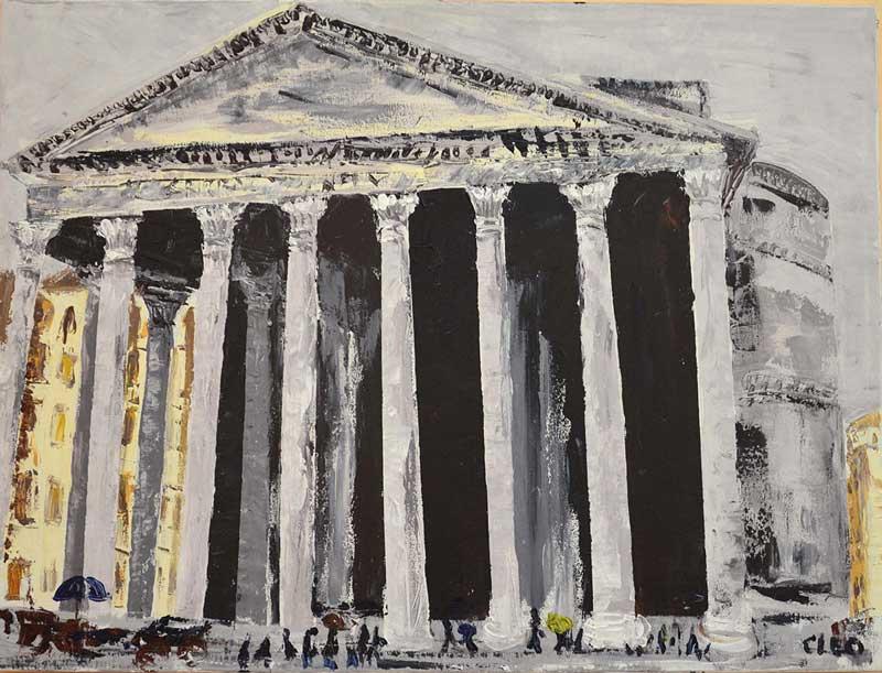 Roma - Il Pantheon sotto la pioggia